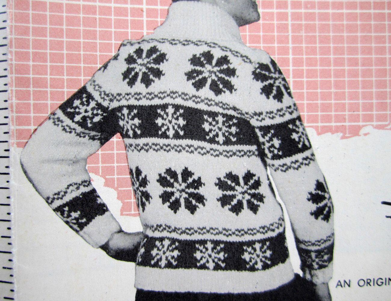 Size 32-34-36 SNOWFLAKE Knitting Pattern Mary Maxim 405 ...