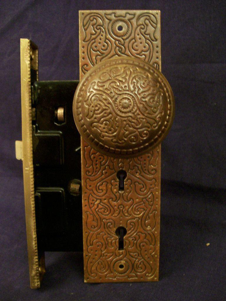 Antique Russell Erwin Villa Entry Door Lock Set c 1890 - Antique Russell & Erwin