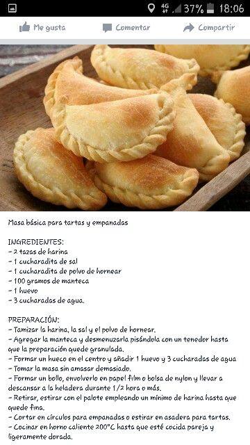 Masa Básica Tartas Y Empanadas Receta De Empanadas Recetas Fáciles De Comida Recetas Deliciosas