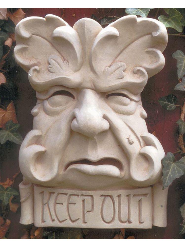 Keep Out Garden Face Plaque Garden Fountains Com Outdoor Wall Art Concrete Sculpture Wall Plaques