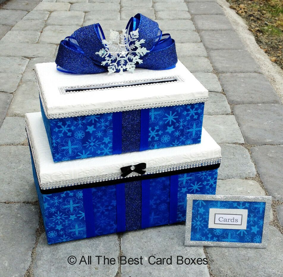 Blue Wedding Card Box with slot,holds 80 cards,white,snowflakes,winter,card box ...