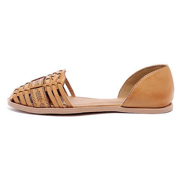 263ad58463e2 Travel Log Camel Huarache Flats ( 20) ❤ liked on Polyvore featuring shoes