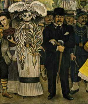 Diego Rivera (1886-1957), Sogno di una notte domenicale nell'Alameda, 1947. Affresco su pannello trasportabile, m 4,7 x 15,67. Città del Messico, Museo Mural Diego Rivera. Particolari dell'affresco.