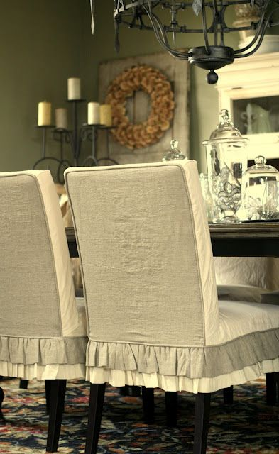 Two Tone Slipcovers White And Off To Greige By Custom Shelley Dining Room Chair