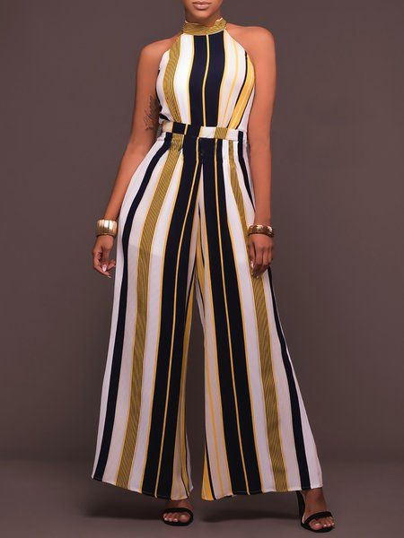 d65857017297 Buy Jumpsuits For Women from At.   at Stylewe. Online Shopping Daytime Bow  Casual Stripes Printed Jumpsuit