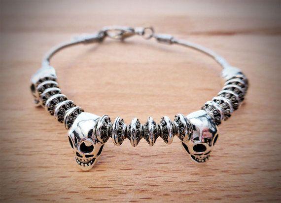 Deluxe Bass String Skull Bracelet with Beads