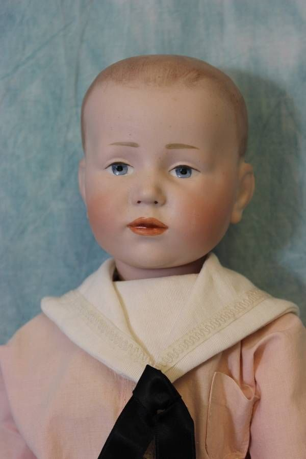 "Antique 18"" K*R 101 known as ""Peter"" with molded hair, German Bisque Character Doll Original BJ Body RARE and seldom found."