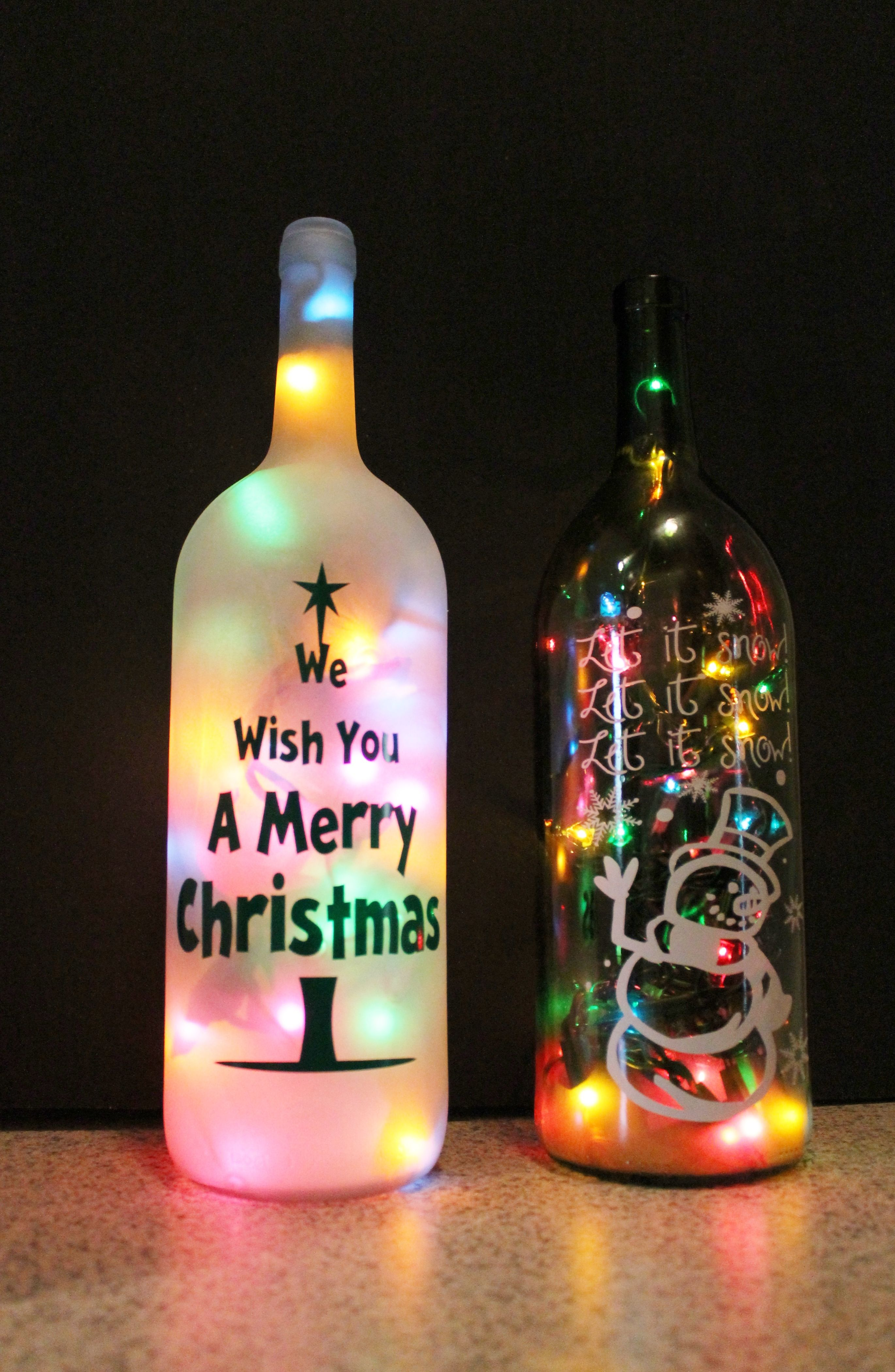 our unique lighted wine bottles make a beautiful accent to any