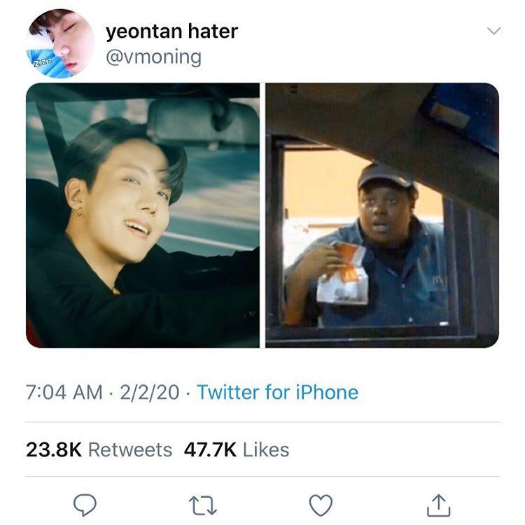"ash ੈ ‧₊˚ auf Instagram: ""SIR THIS IS A MCDONALDS DRIVE THEU"" | Bts memes  hilarious, Bts memes, Bts funny"
