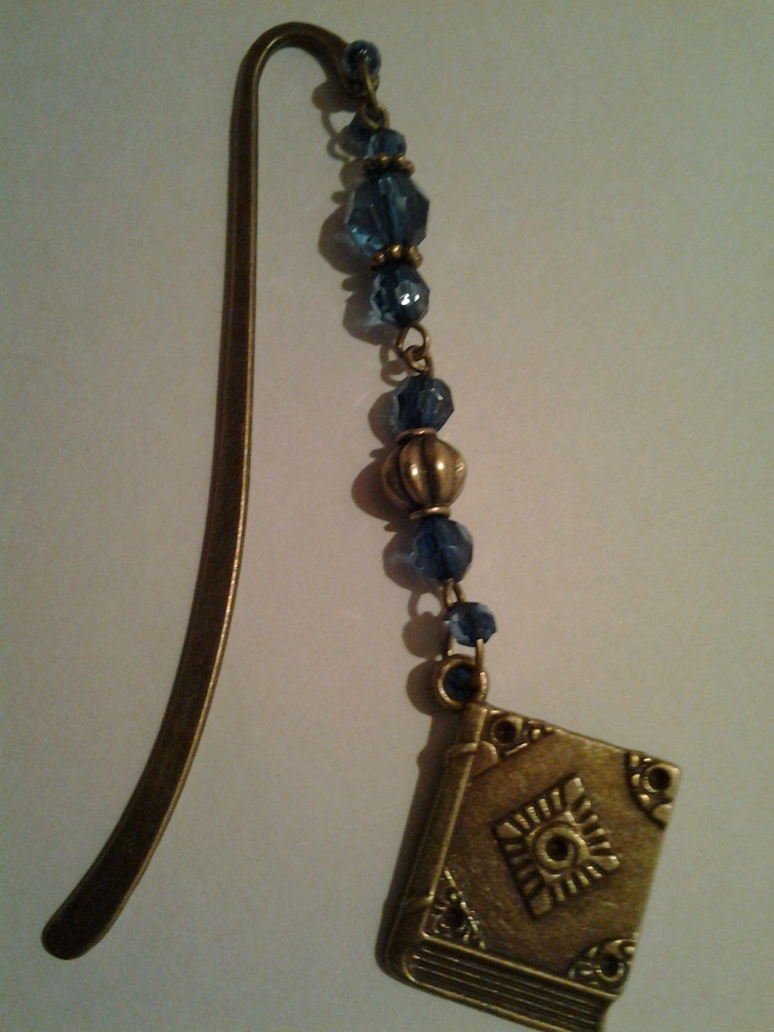 Tibetan bronze bookmark with beads and book charm