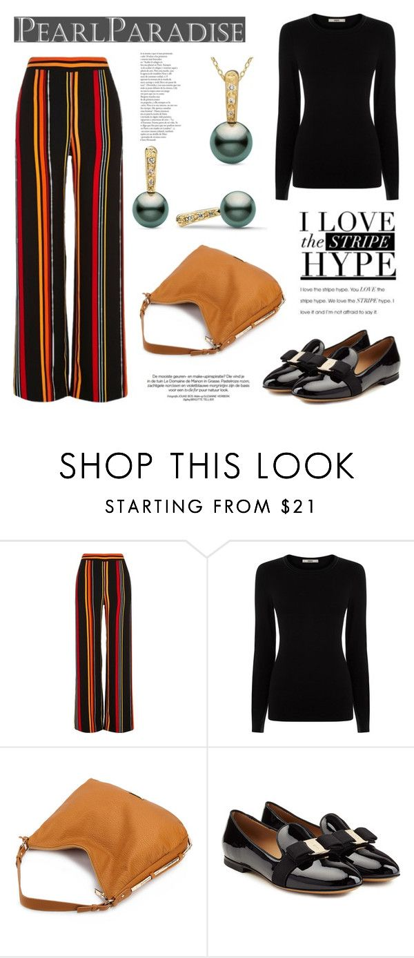 """Stripes by Pearl Paradise"" by pearlparadise ❤ liked on Polyvore featuring River Island, Oasis and Salvatore Ferragamo"