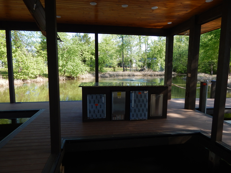 Outdoor Dock Bar With Ice Machine Refrigerator Trash Bin And Storage Door Outdoor Kitchen Built In Grill Kitchen Storage