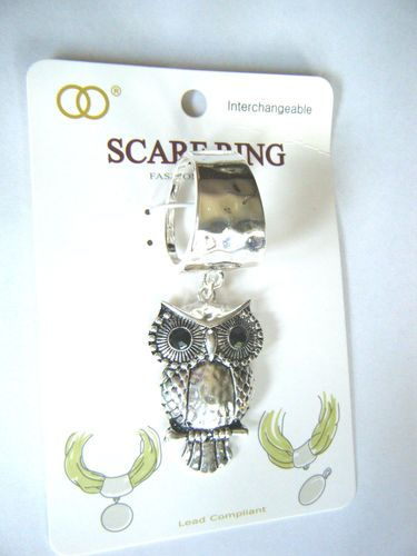 Owl Pendant Scarf Ring Silver Tone Hammered Metal New In Package
