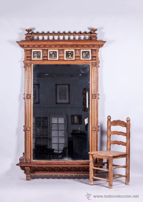 Antiguo gran espejo de madera siglo xix foto 1 muebles - Espejos antiguos grandes ...