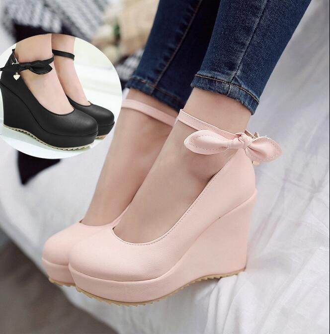 ac0aeaf0567 Womens Wedge Heel Shoes Buckle Strap Korean Girls Bow-Knot Pumps Round Toe  Z138