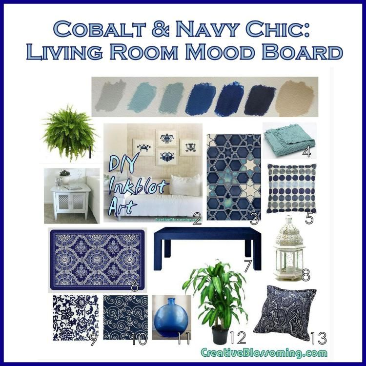 Cobalt And Navy Chic Living Room Mood Board Colors Palette Scheme Decor Dove Gray Aqua Neptune Blue Royal Oatmeal Tan Beige