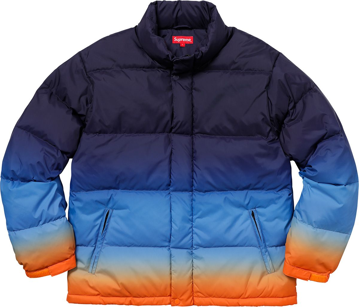 e008efb75 Supreme Gradient Puffy Jacket | FASHION - MEN | Puffy jacket, Blue ...