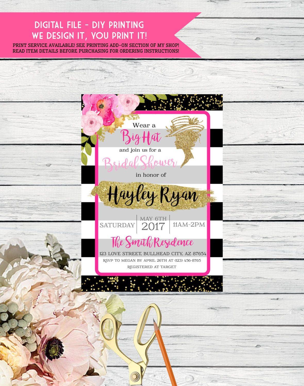 Derby Bridal Shower Invite Big Hat Party, Derby Style ***Digital ...