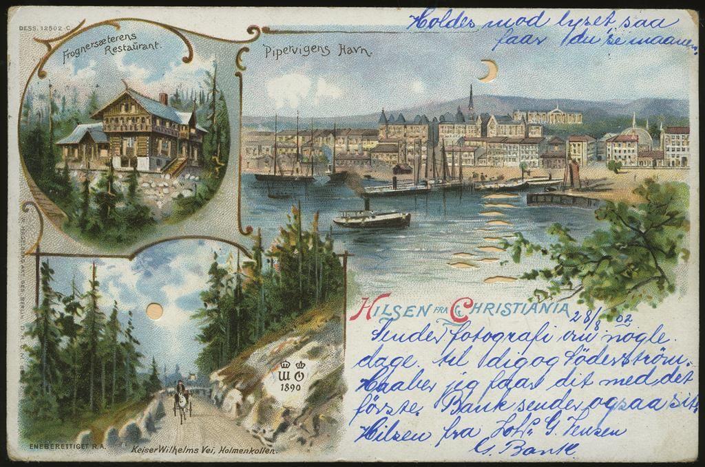 Christiania Kristiania HILSEN FRA CHRISTIANIA. Flott kartongartig fargekort 3-bilders med utstansede måneportrett m.m. Utg W.Hagelberg, Berlin Sendt 1902