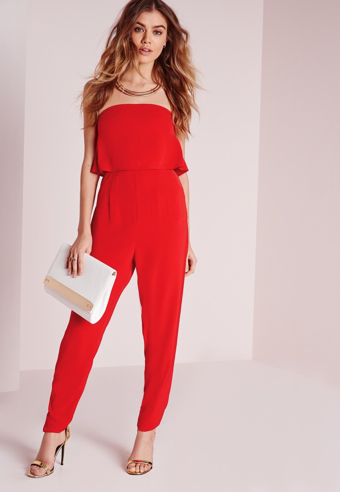 109c8c34a5d Missguided - Double Layer Bandeau Jumpsuit Red