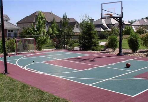 Backyard sport court options include basketball courts for Pool design for volleyball