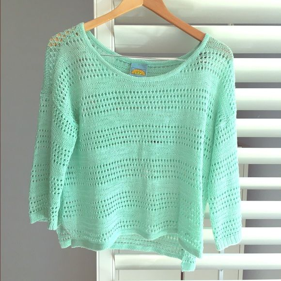 C&C California sweater Crochet style sweater in mint. In great condition. Style it with white jeans and lace up sandals for a fresh spring look! C&C California Sweaters Crew & Scoop Necks