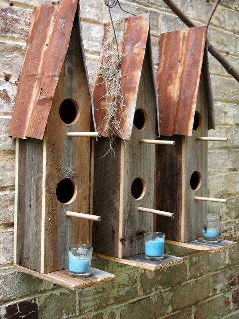 Set Of 3 Birdhouse Triptych Handmade Wall Art In Melbourne Bird Houses Handmade Birdhouses Birdhouses Rustic