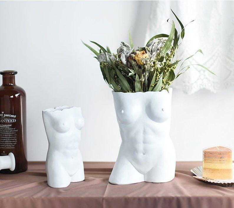Body Art White Vase Handmade Ceramic Vase Minimalist Decor Modern Air Plant Pot Flower Vase Gift Living Room Decor In 2020 Flower Vase Gift Handmade Ceramics Vase Handmade Ceramics