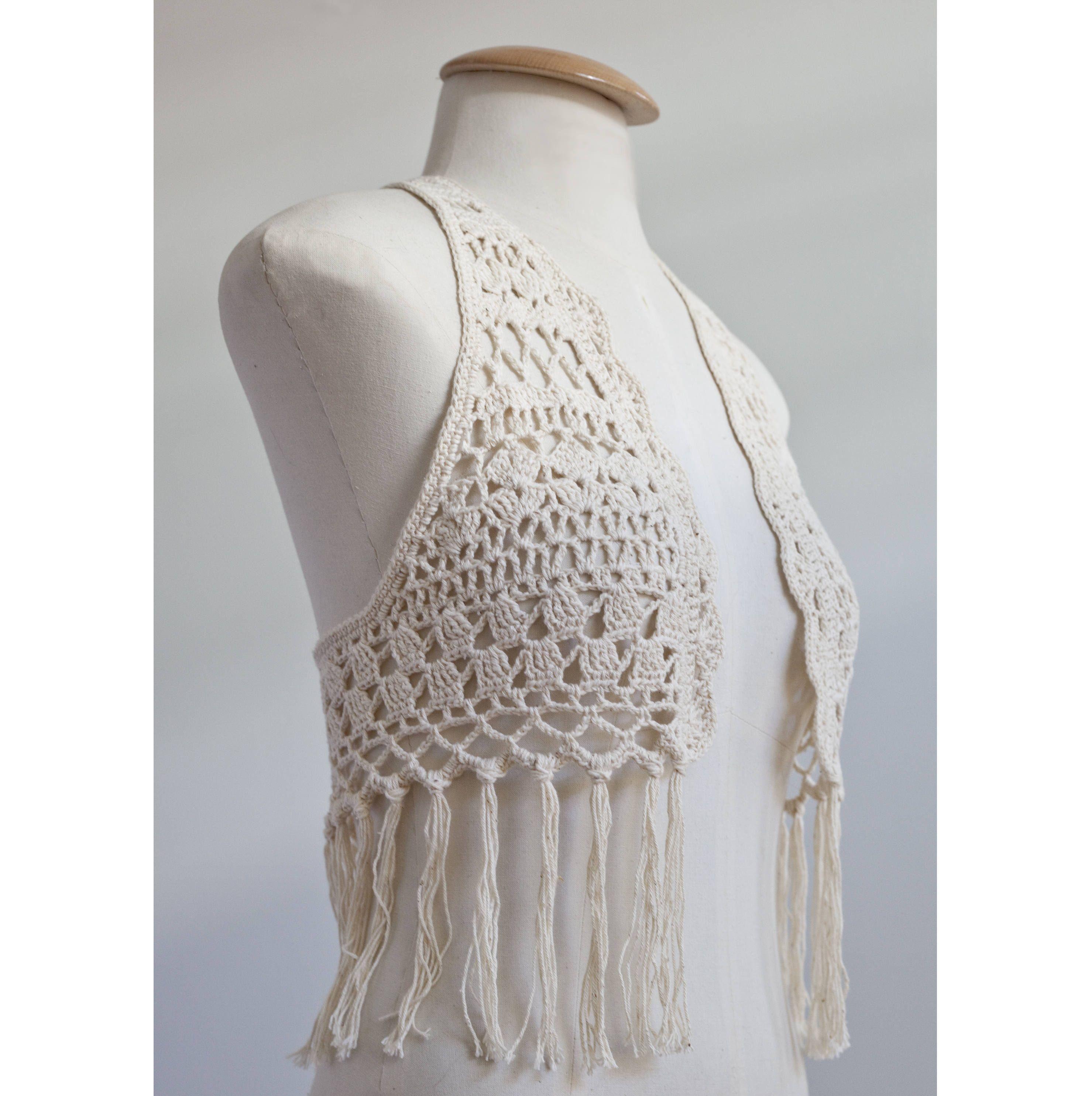 crochet top with fringes, crochet vest, boho, bohemian, gypsy, Ibiza ...