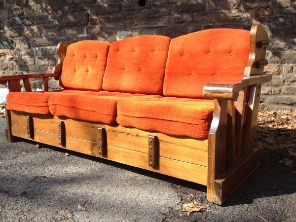 Philadelphia  Orange Retro Wood Frame Couch   1970s  175    http   furnishlyst. Furniture For Sale   Woods  Glider rocking chair and Upcycled