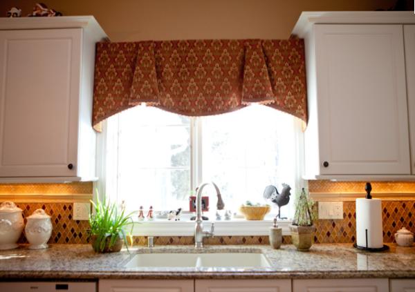 Lovely Kitchen Window Treatment, Kitchen Valance, Box Pleated Shaped Valance