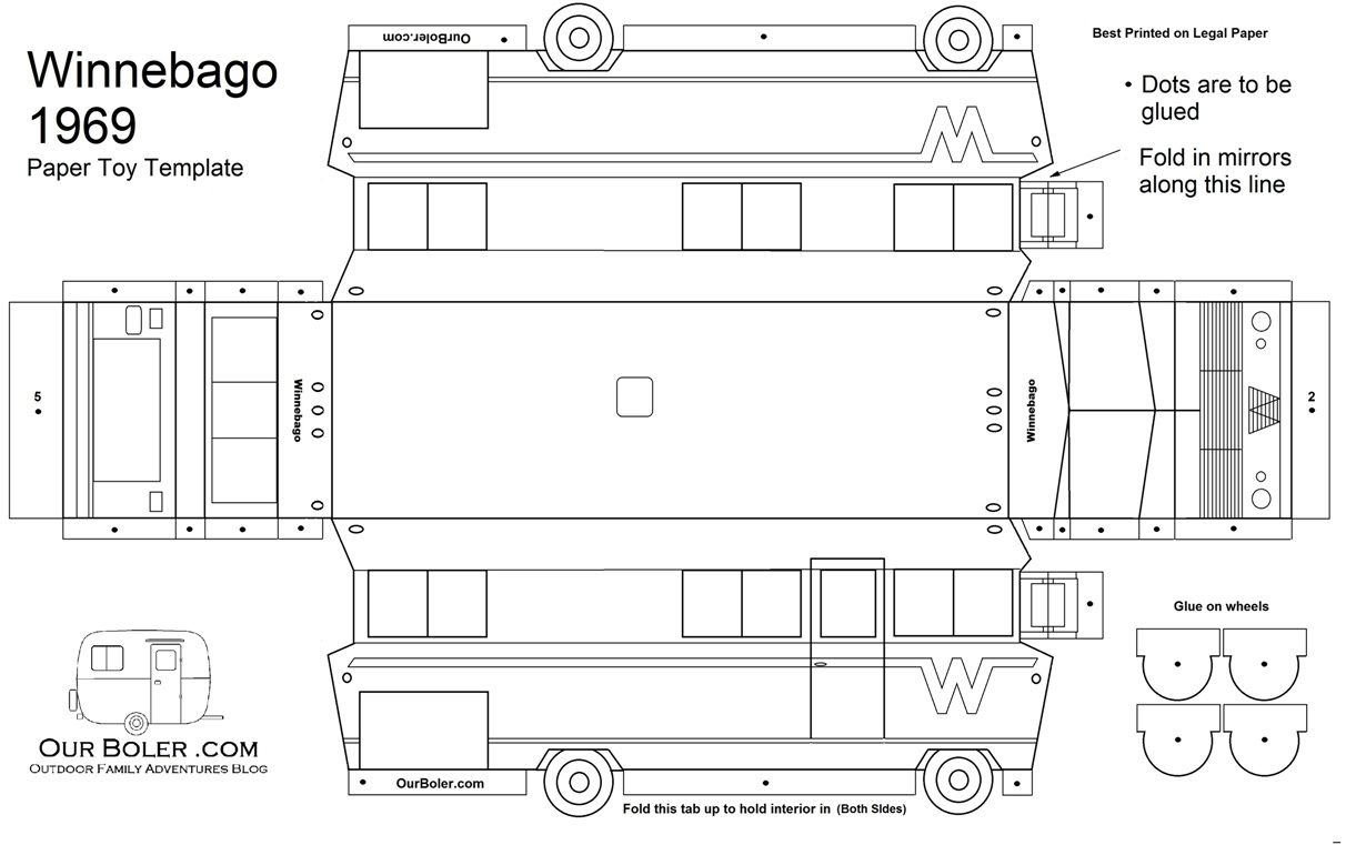 The exterior paper toy template for a 1969 Winnebago Motor