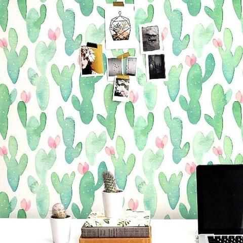 Cactus Wallpaper Sticker No Glue Needed