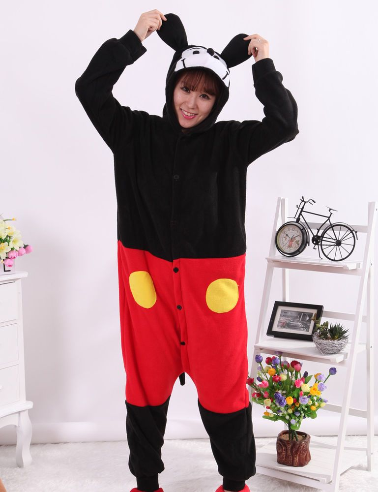 f3acb9457e Flannel Pijama Mickey Adult Pyjama Women Hooded All In One Animal Sleepwear  New  Unbranded  Onesie