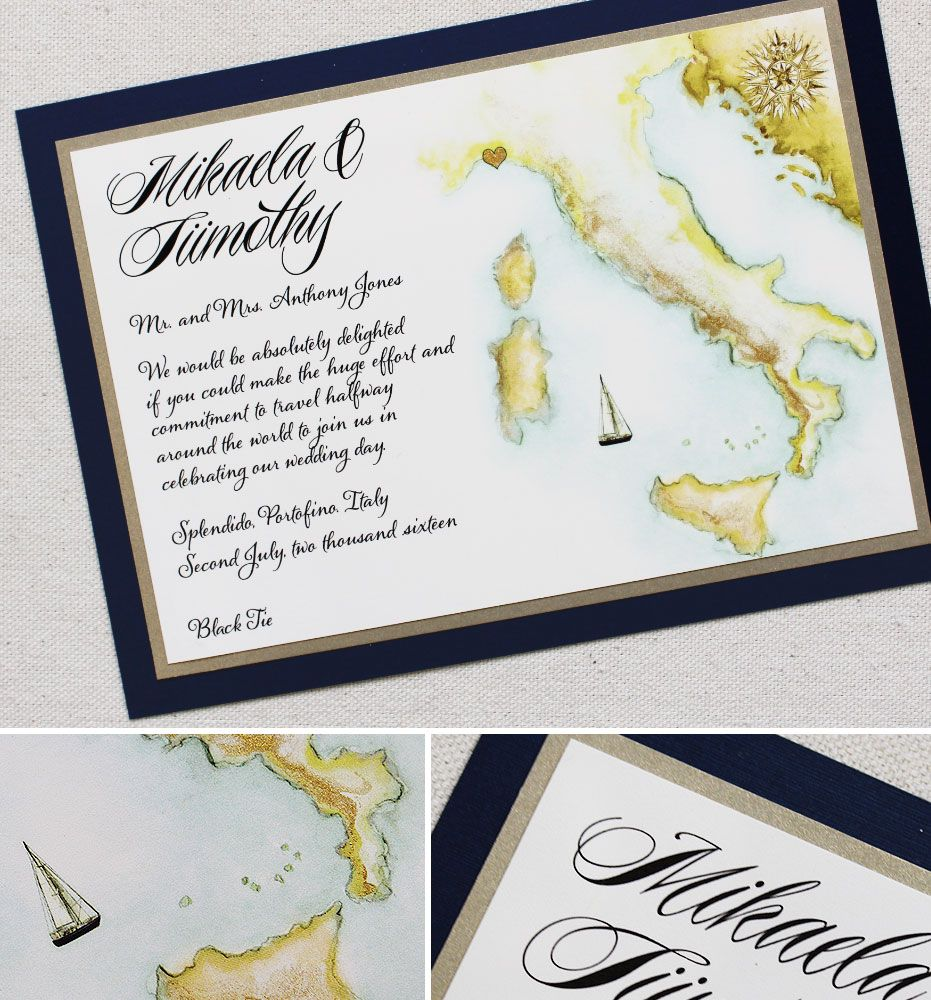 Mikaela N Watercolor Italy Map Wedding Invitation Map Wedding
