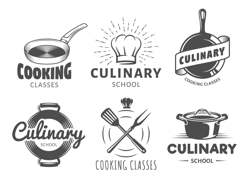 Culinary School Logos Badges Cooking Cooking Logos