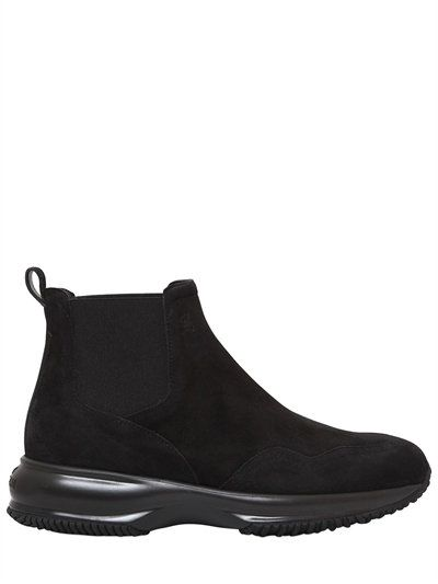 HOGAN 60Mm Interactive Chelsea Suede Boots, Black. #hogan #shoes #boots