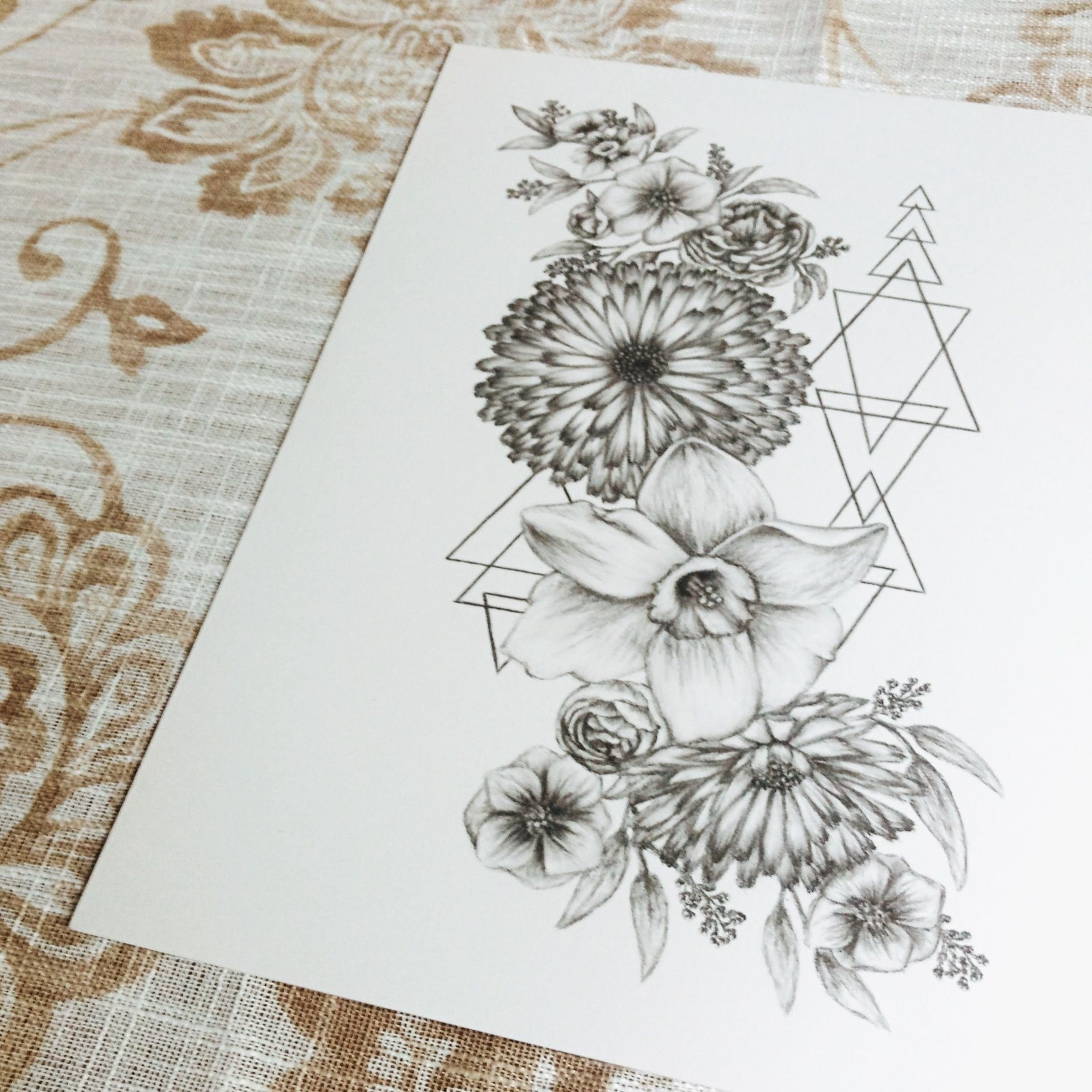 Flower Tattoo Design Flowers And Geometric Shapes Bohemian Charcoal Drawing