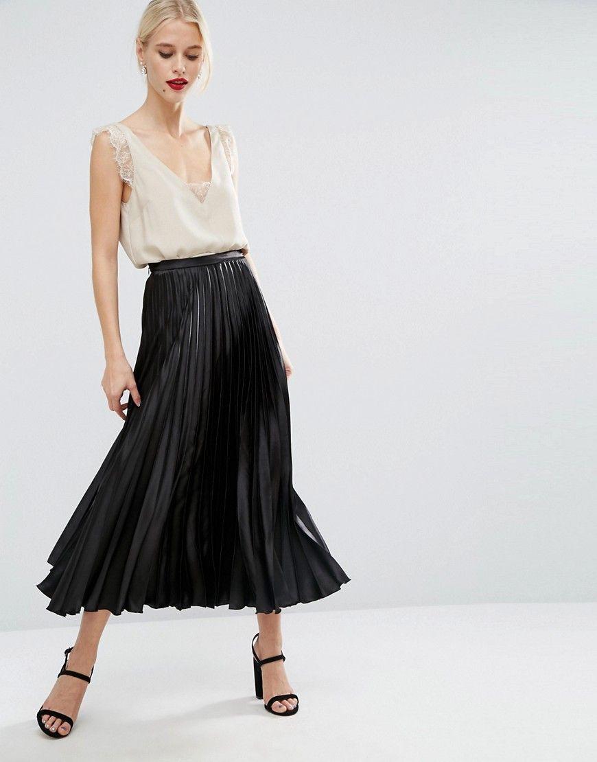Black midi dress pleated skirt