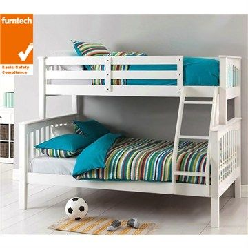Sarah Solid New Zealand Pine Timber Trio Bunk Bed White