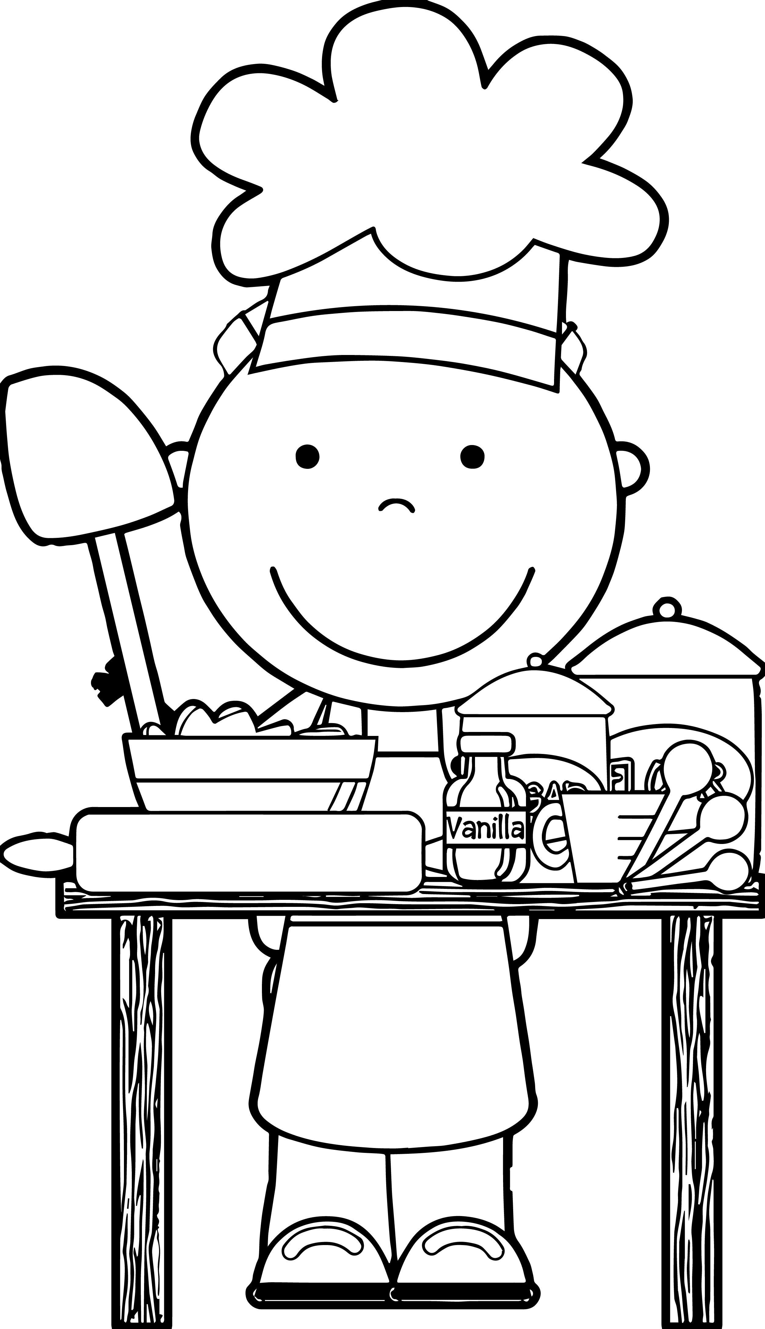 free pie coloring pages for kids | nice Chef Cooking Free Images Kids Coloring Page ...