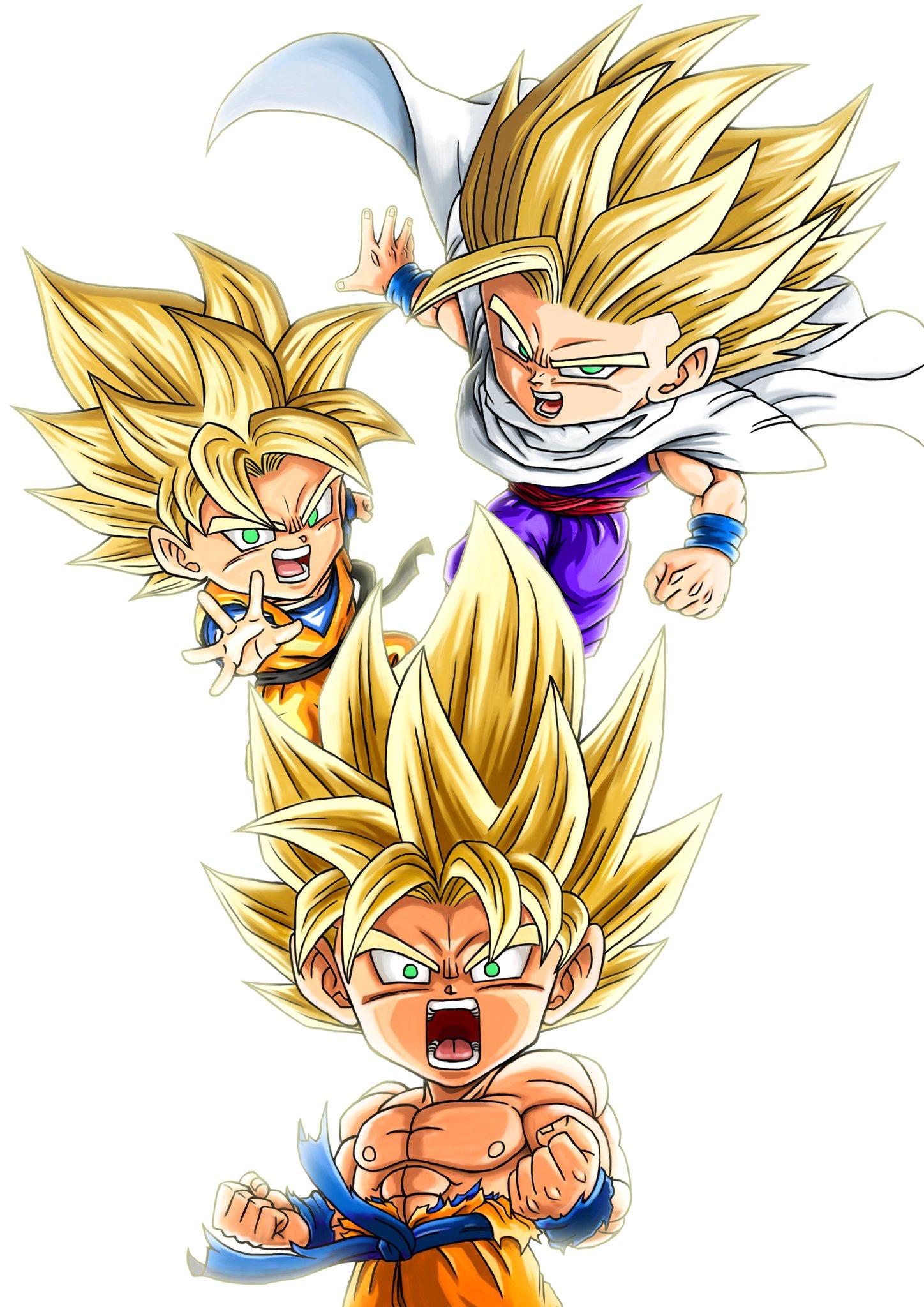 X3 Gohan He S So Cute Along With Goten And Goku Dibujos Personajes De Dragon Ball Dibujos Chibi