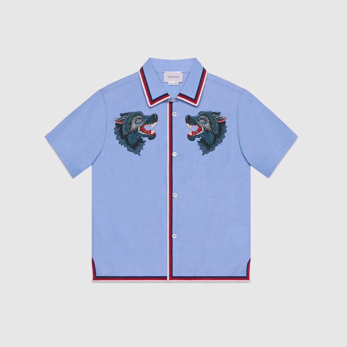 0b2dc0d2b3a Children s cotton shirt with wolves - Gucci Boys  Shirts 499993XBD344307