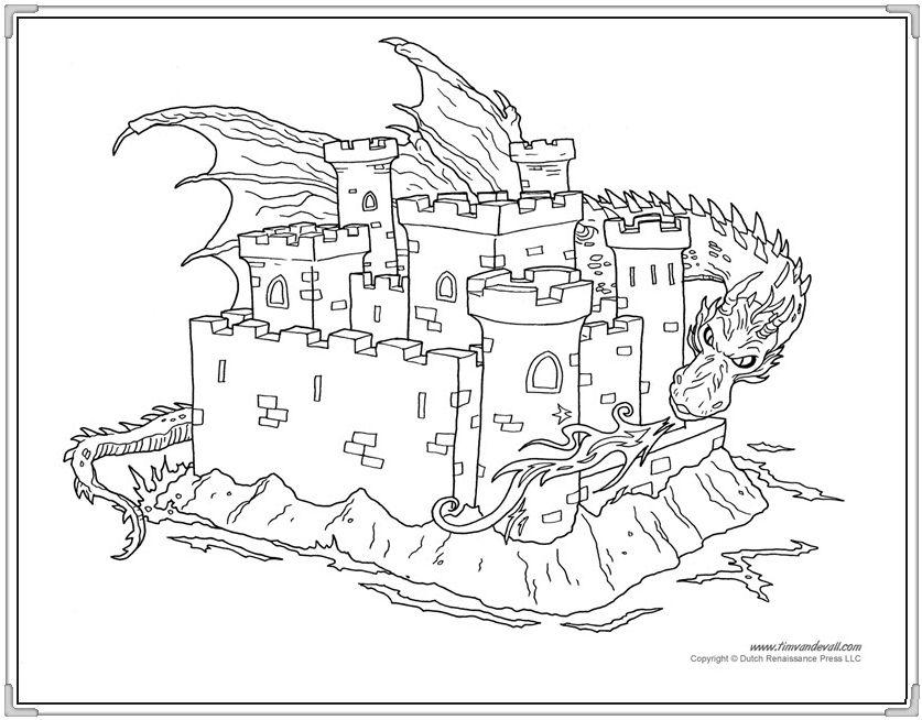 Tranh tô màu lâu đài rực rỡ cho bé hình ảnh 6