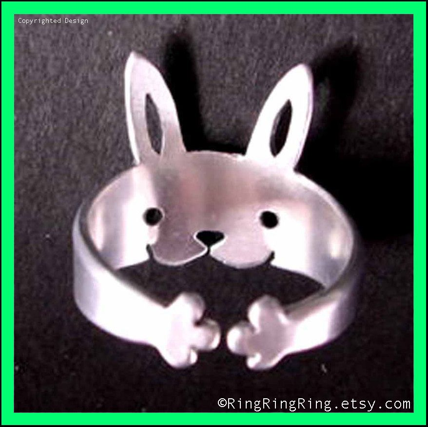 925 Bunny rabbit silver ring jewelry Sterling by RingRingRing
