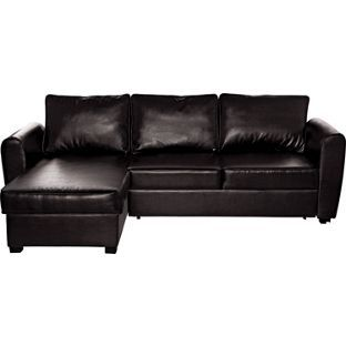 Siena Corner Leather Effect Sofa Bed With Storage Chocolate From Homebase Co Uk