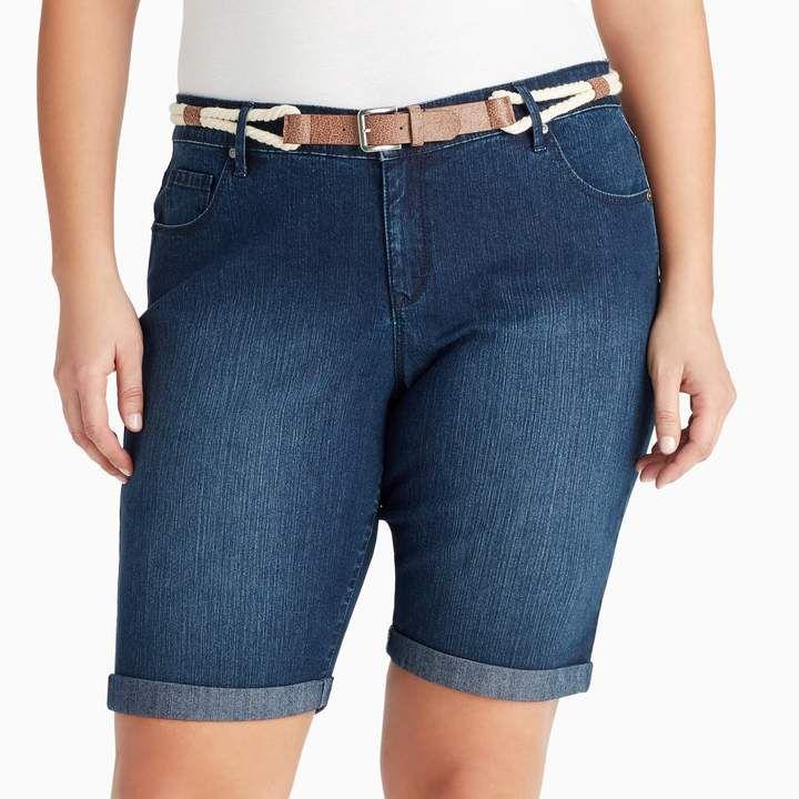 ddc8fb50e6 Plus Size Gloria Vanderbilt Joslyn Belted Bermuda Jean Shorts ...