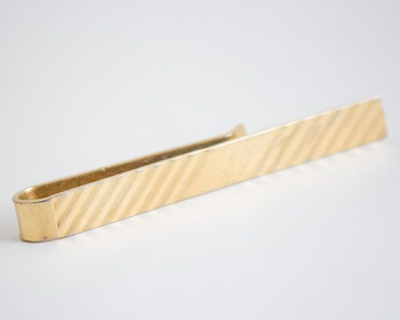 Vintage Tie Clip Grooved Pattern Tie Bar Gold by CuffsandClips