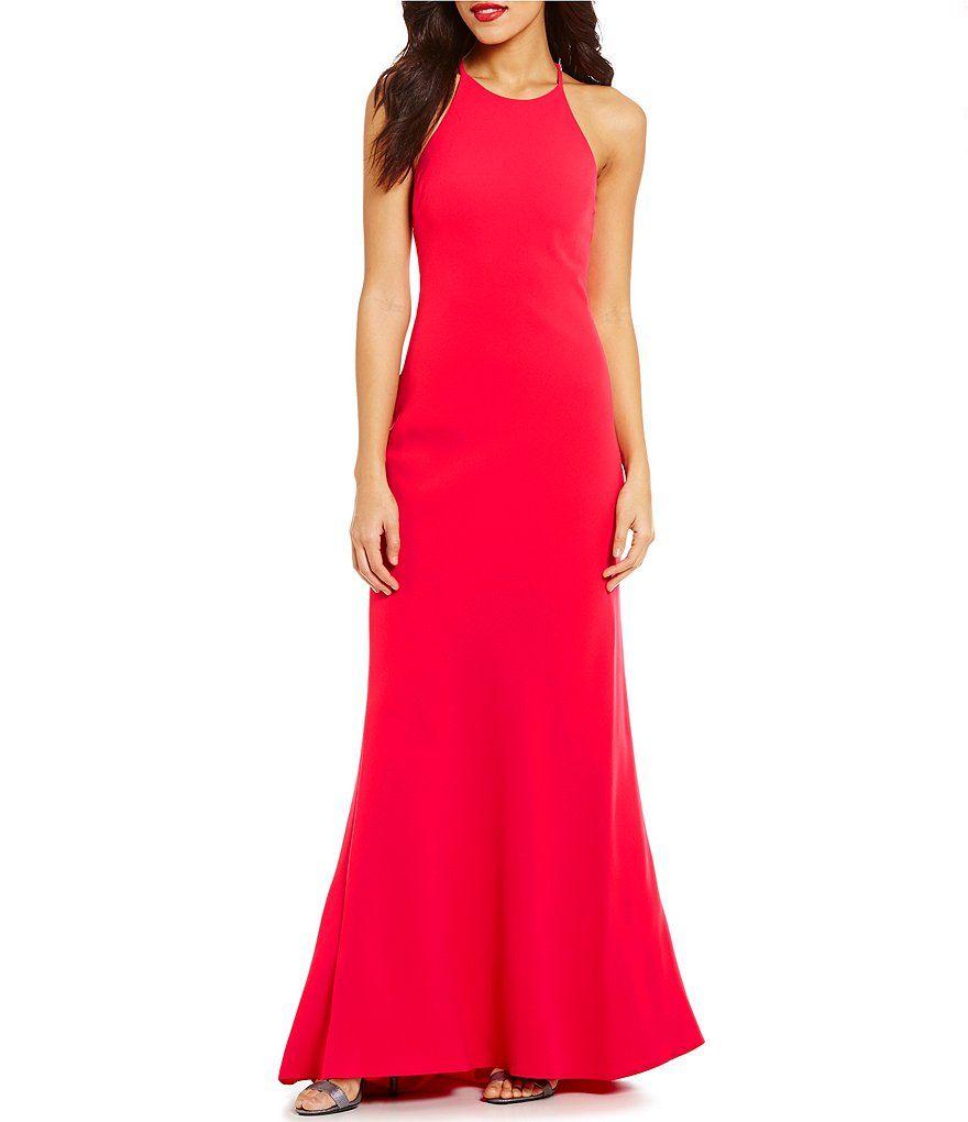Calvin Klein Crepe Halter Gown Fashion Pinterest Halter Gown