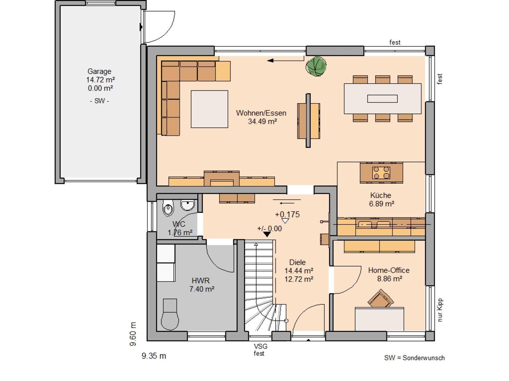 Grundriss villa mit garage  Kern-Haus Familienhaus Luna Plus Grundriss Erdgeschoss | Hausbau ...